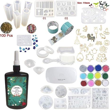 250g Resina Epoxi UV Kit con 24 Moldes Silicona 17 Biseles 2 Cintas 12 Adornos Brillantes