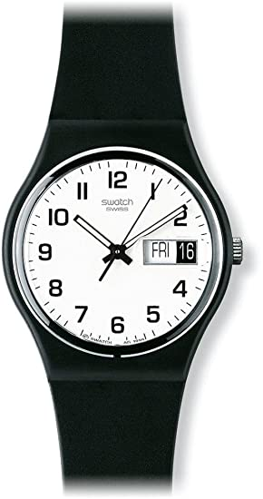 analogue watches quartz with swatch co uk dp amazon black unisex strap plastic watch
