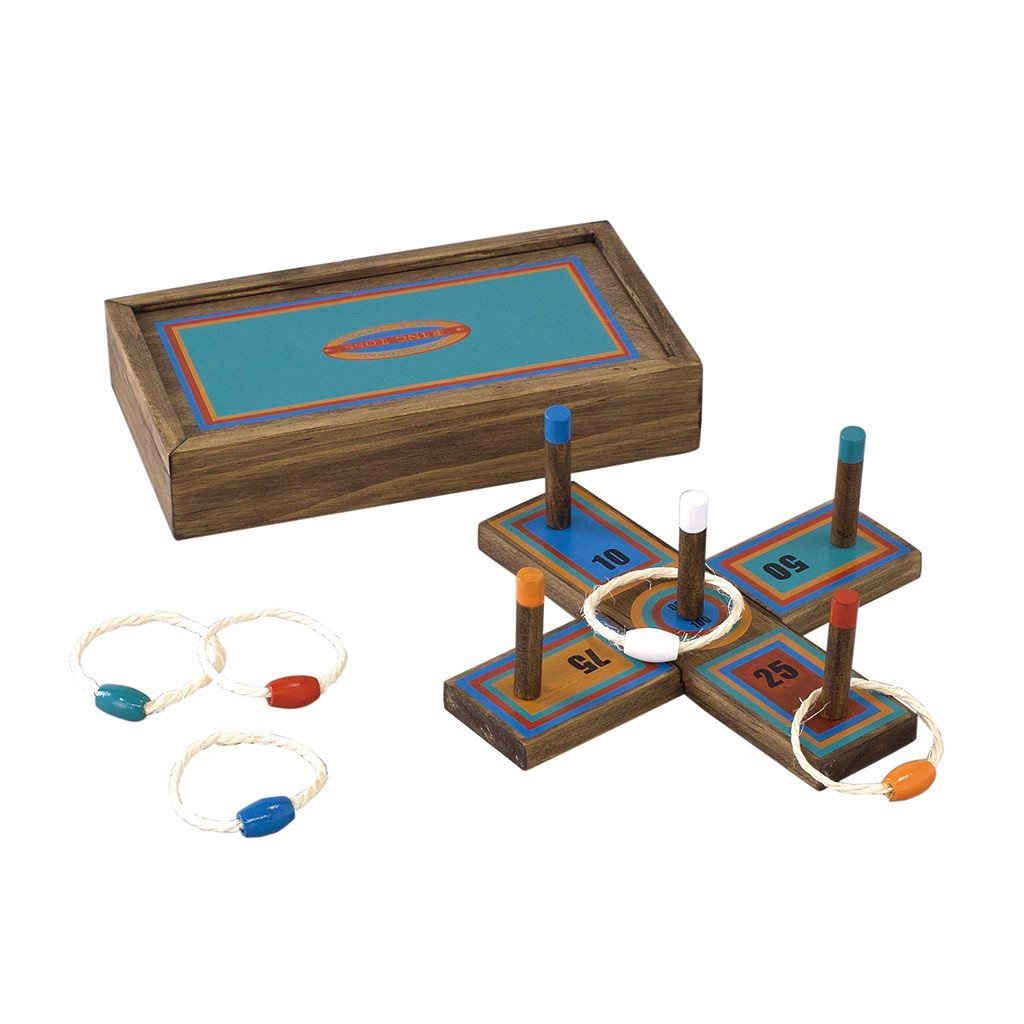 Time Concept Tabletop Ring Toss Game - Wooden Construction - For Adults and Kids Age 6+