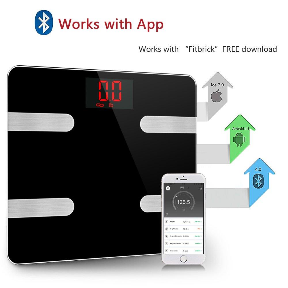 Escala de grasa corporal Inteligente Bluetooth Digital Scale Body Composition Monitor Analyzer funciona con el teléfono inteligente Android IOS Aplicación ...