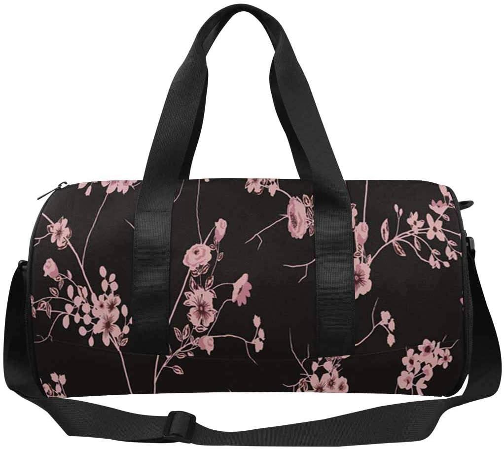 INTERESTPRINT Trendy Floral Flowers Travel Bag Water-Resistant Duffle Bag