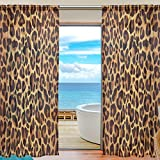 WOZO Bright Leopard Print Window Sheer Curtain Panels 55″x 84″, 2-Piece Glitter Animal Fur Modern Window Treatment Panel for Children Kids Home Living Dining Room Decoration Review