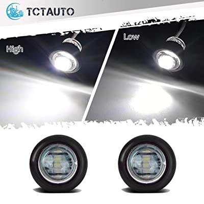 TCTAuto 3/4 inch LED Marker Light Rubber Grommet Miniature Type with 3 Wire Dual Function High & Low White, Pack of 2: Automotive