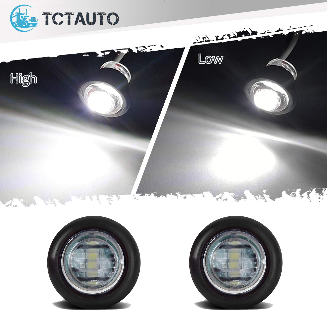 Pack of 2 TCTAuto 3//4 White Round LED Marker Light Rubber Grommet Miniature Type with 3 Wire 2 Function High /& Low