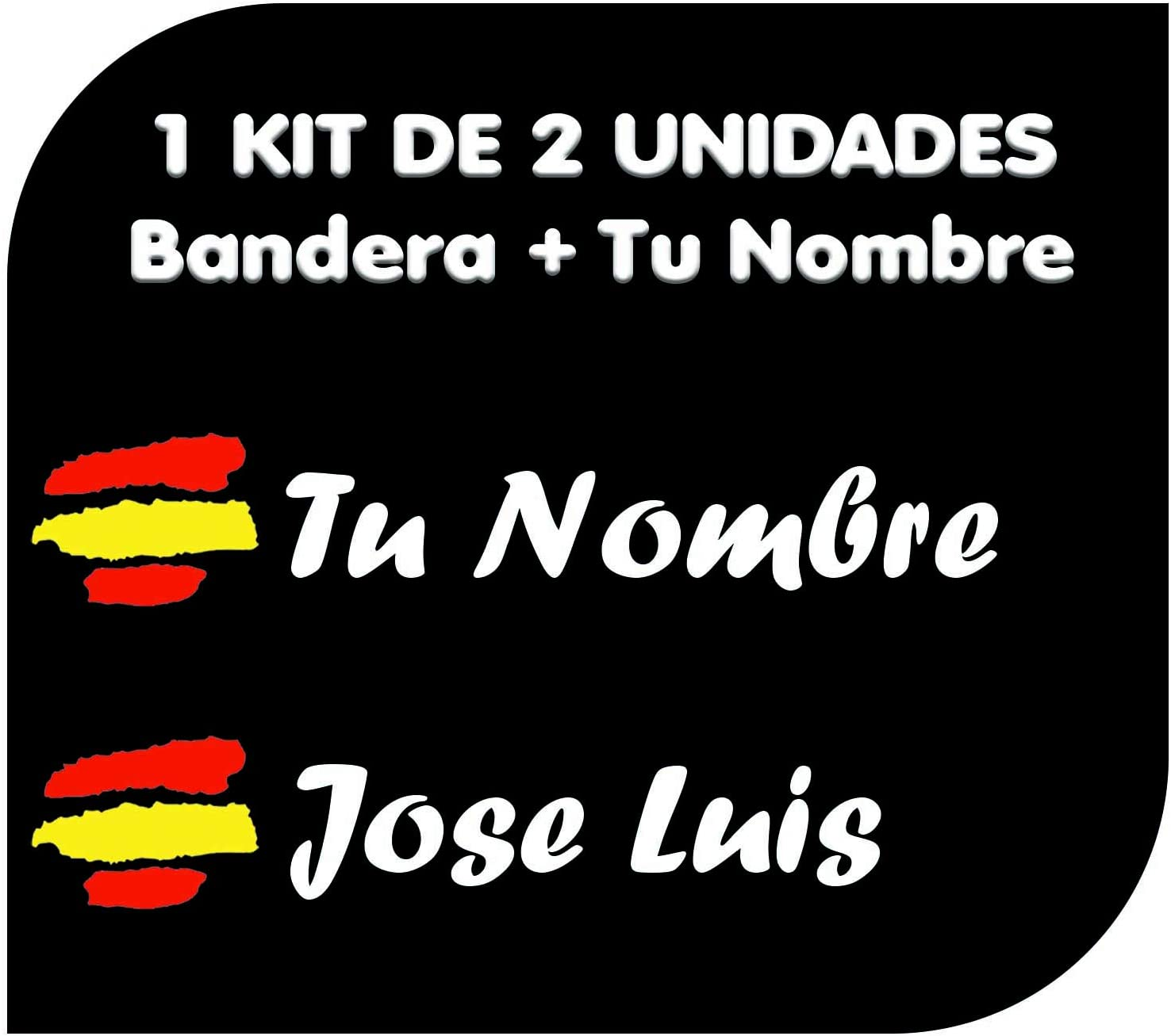 Pegatina Vinilo Bandera España + tu Nombre - Bici, Casco, Pala De Padel, Monopatin, Coche, Moto, etc. Kit de Dos Vinilos (Pack Fuentes 1)