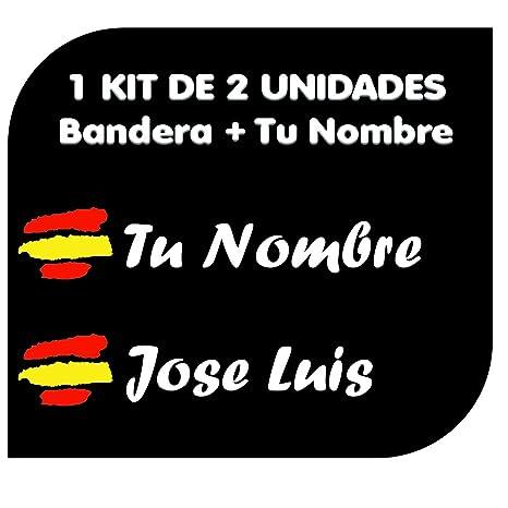 Pegatina Vinilo Bandera España + tu Nombre - Bici, Casco, Pala De Padel,
