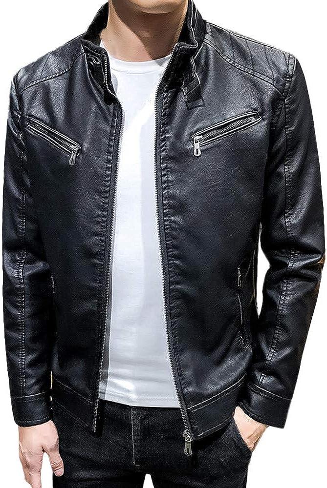 TWGONE Mens Motorcycle Jacket Leisure Fashion Material Jacket Autumn Winter Coat