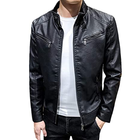 REYO Mens Jacket Autumn Winter Leisure Slim-fit Leather Jacket Outdoor Blouse Coat Sweatshirt Tops at Amazon Mens Clothing store: