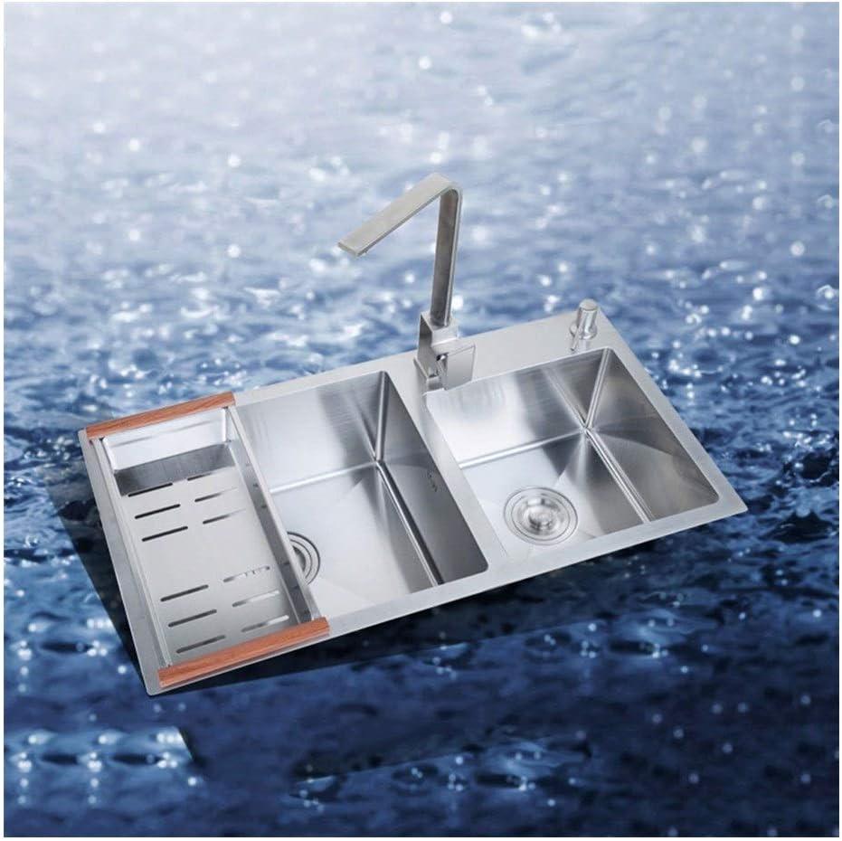 BDD Kitchen Sink Fixtures 2 Bowl Sink Topmount Undermount Basin Without Tap Bar or Utility Sink in Satin Stainless Steel
