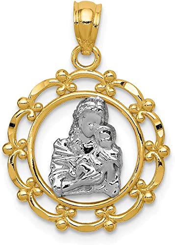 14k White Virgin Mary Pendant Charm Necklace Religious Medal Blessed Fine Jewelry Gifts For Women For Her