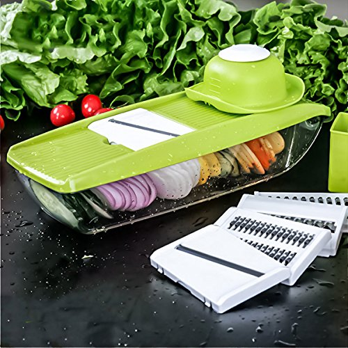 LEKOCH Kitchen Mandoline Fruit and Vegetable Slicer with 5 Blades (Mini&Green)