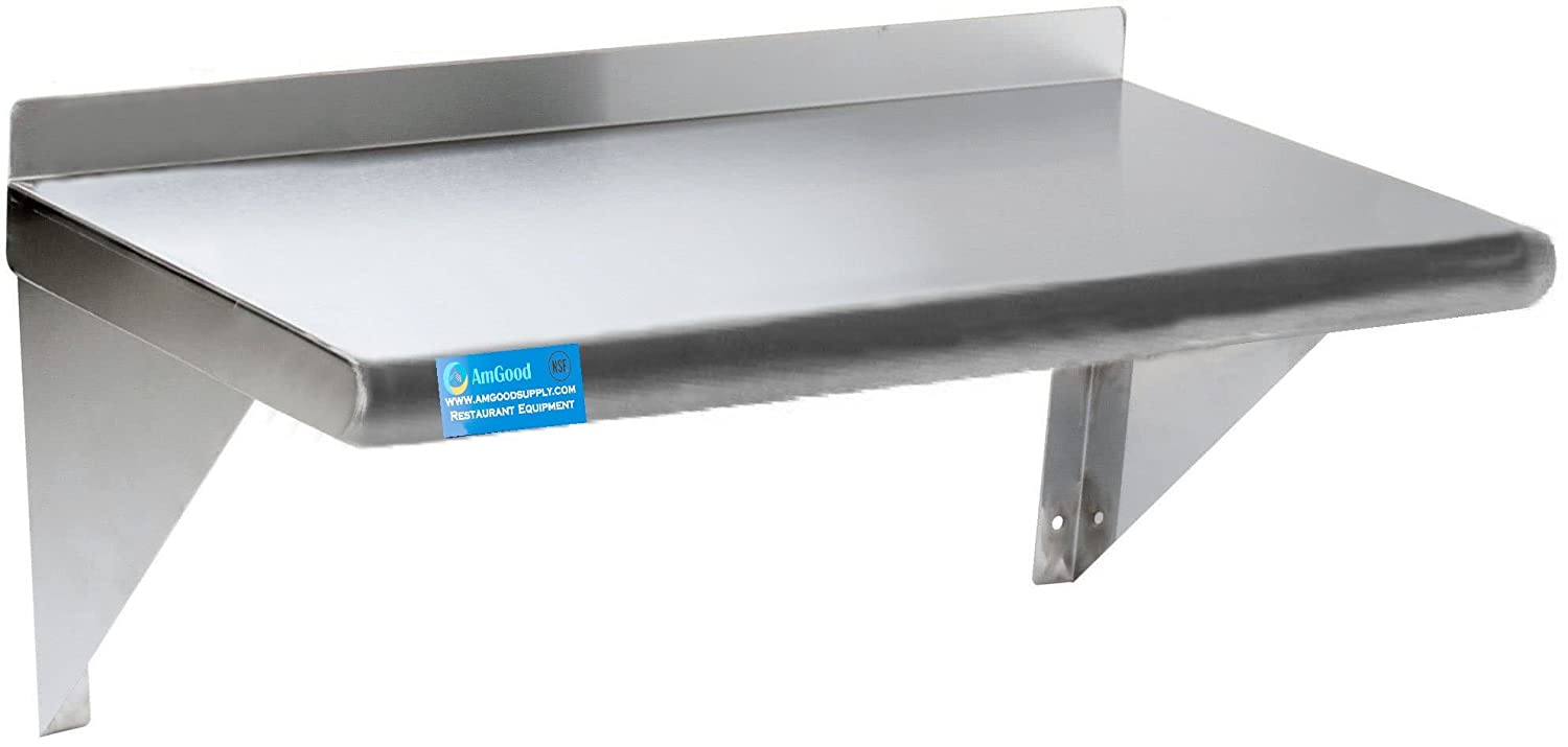 "Stainless Steel Wall Shelf | NSF | Food Prep | Utility Room | Laundry Storage | Garage Shelving (30"" Length x 12"" Width)"