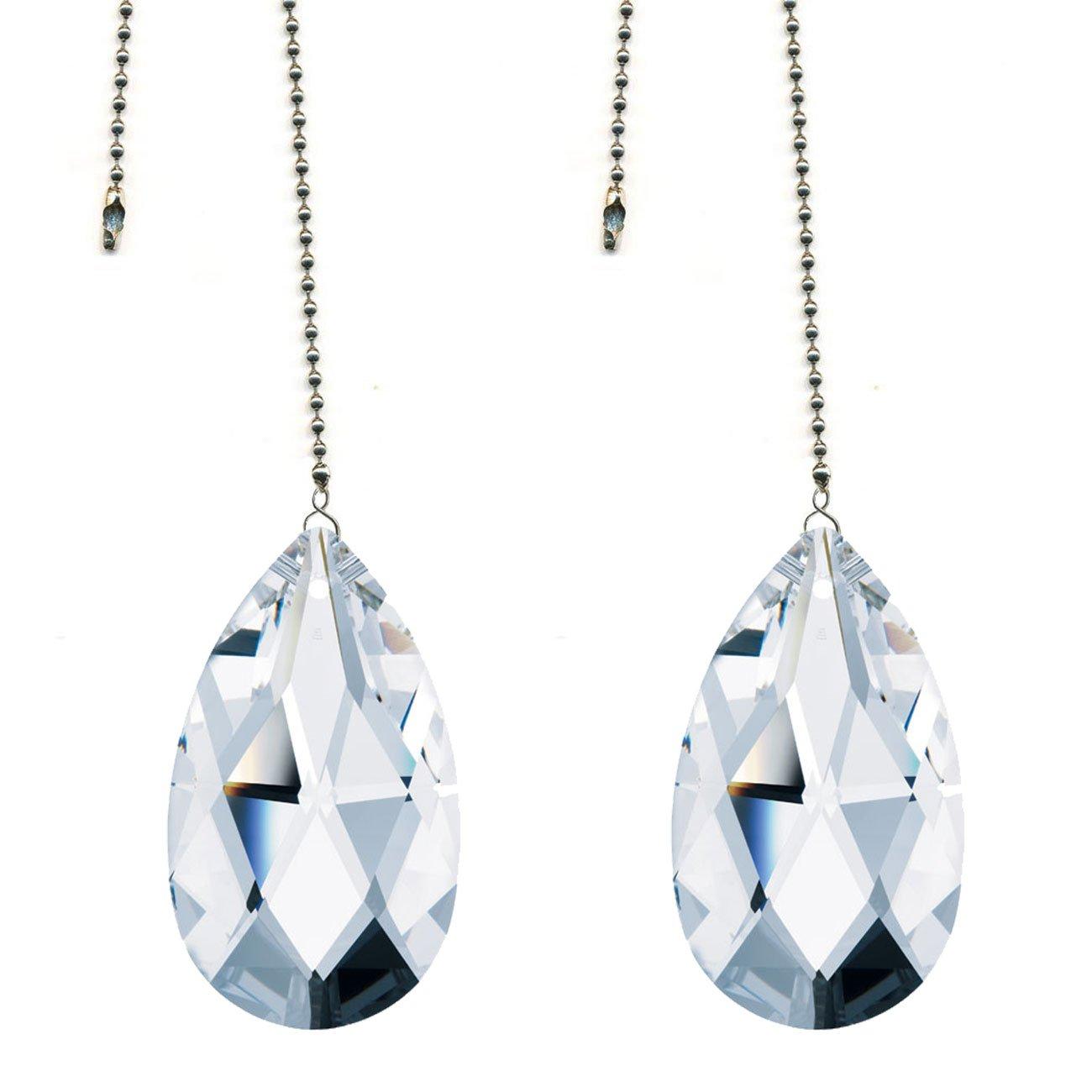 CrystalPlace Ceiling Fan Pull Chain Swarovski Strass Clear Crystal Almond Prism Fan Pulley Set of 2
