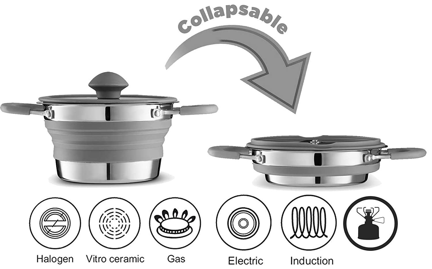 Gourmia GCP9935 Collapsible Pot – Stainless Steel, Silicone and Glass Lid – for Gas and Electric Stove Cooking – Great for Outdoors, Hiking, Camping, Traveling - BPA Free