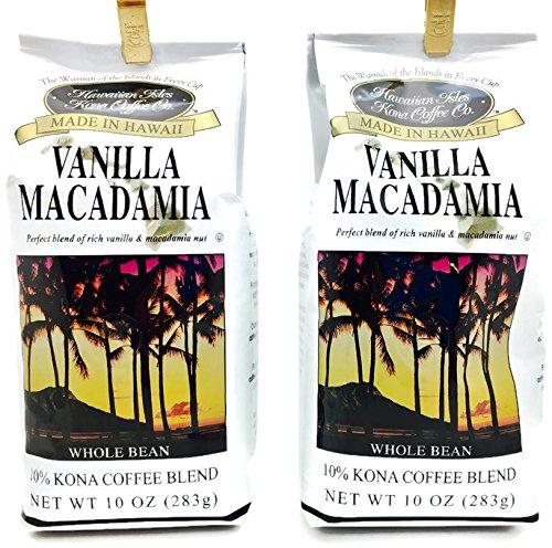 Hawaiian Isles 10% Kona Coffee Gradate Gourmet Coffee, Vanilla Macadamia Nut, Whole Bean (2 Pack)