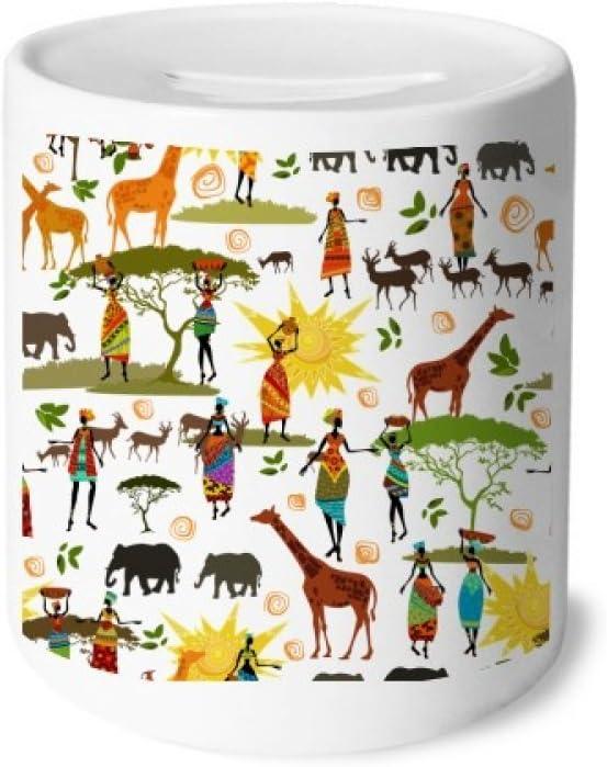 Diythinker African Savanna Black Women Wildlife Animals Money Box Ceramic Coin Case Piggy Bank Gift Toys Games