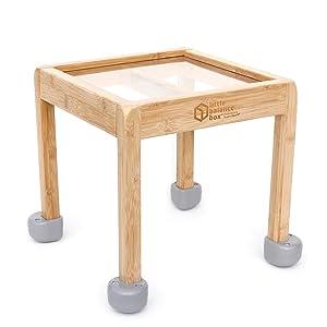 Little Balance Box 2-in-1: No Wheels Spring Feet, Girl Boy Baby Walker Push Stand Toys, Toddler Activity Table, Award Winning (Gray)