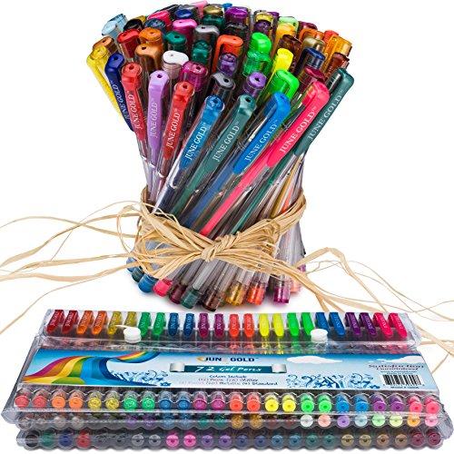 June Gold 72 Gel Pens, Flexible Folding Case, Adult & Child Friendly, Colors Include (12) Neon, (28) Glitter, (8)...