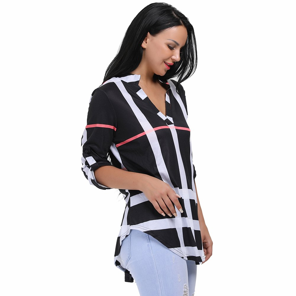 Black Stripes other Womens VNeck Formal, Casual, Office Blouse, Shirt
