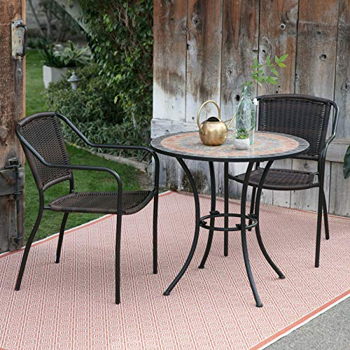 Tuscan Sun Gray Terra Cotta Amber Blue Mosaic Inlaid Stone 3 Piece Patio Bistro Set Small Space Outdoor Dining Set with Stacking Resin Wicker Chairs ()