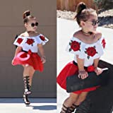 FANOUD Cute Baby Girls Off Shoulder Embroidery Rose Flower T Shirt Tops + Denim Shorts Outfits Clothes Set