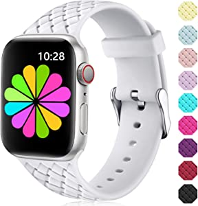 Haveda Bands Compatible for Apple Watch Series 6 Series 5/4 40mm, Silicone for Apple Watch SE 40mm Bands Womens, Soft Waterproof iWatch 38mm Series 3/2/1 Stainless Buckle Men Kids 38mm/40mm S/M White
