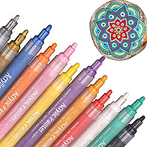 Ewong Acrylic Paint Pen Set - Permanent Art Canvases for Painting-Artist Marker Kit for Rock, Glass Writing, Fabric, Craft Project, Metal, Porcelain, Mug, Wood, Body, 12 Color/Pack Medium Point Tip by Ewong