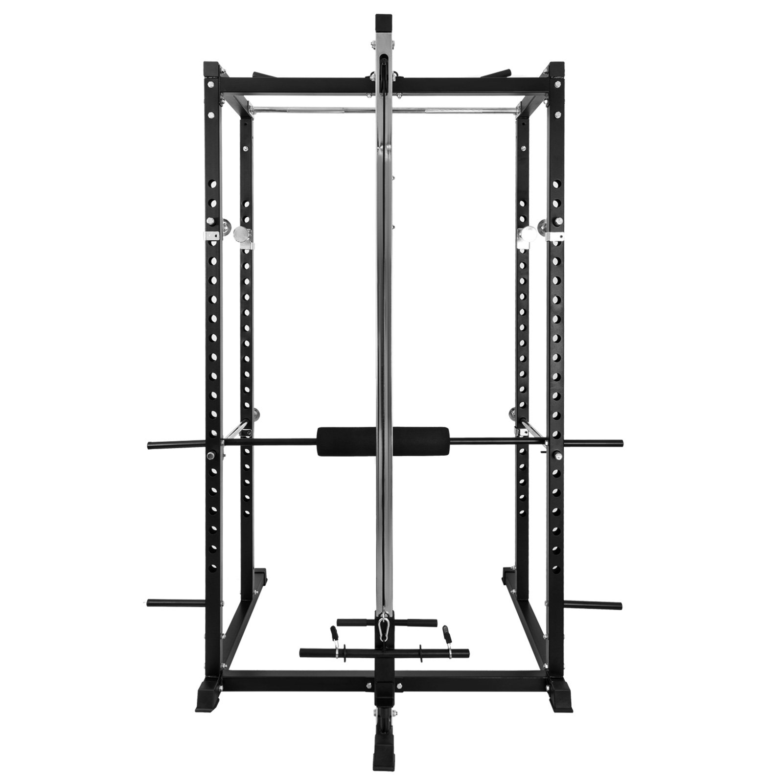 Happybuy Multi-Grip Chin-Up Fitness Power Rock Power Racks Weightlifting Power Rack Olympic Squat Cage Power Rack Cage System with Adjustable Bar for Home Gym (BD-7)