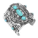 Aris Chunky Metalwork Cabochon Squash Blossom Turquoise Stone Cuff Bracelet Bundle: Bangle & Bag