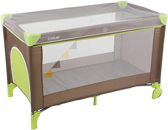 LuvLap Sunshine Baby Playpen Playard / Folding Baby Bed Cum Cot / Convertible Crib - (Brown and Green)