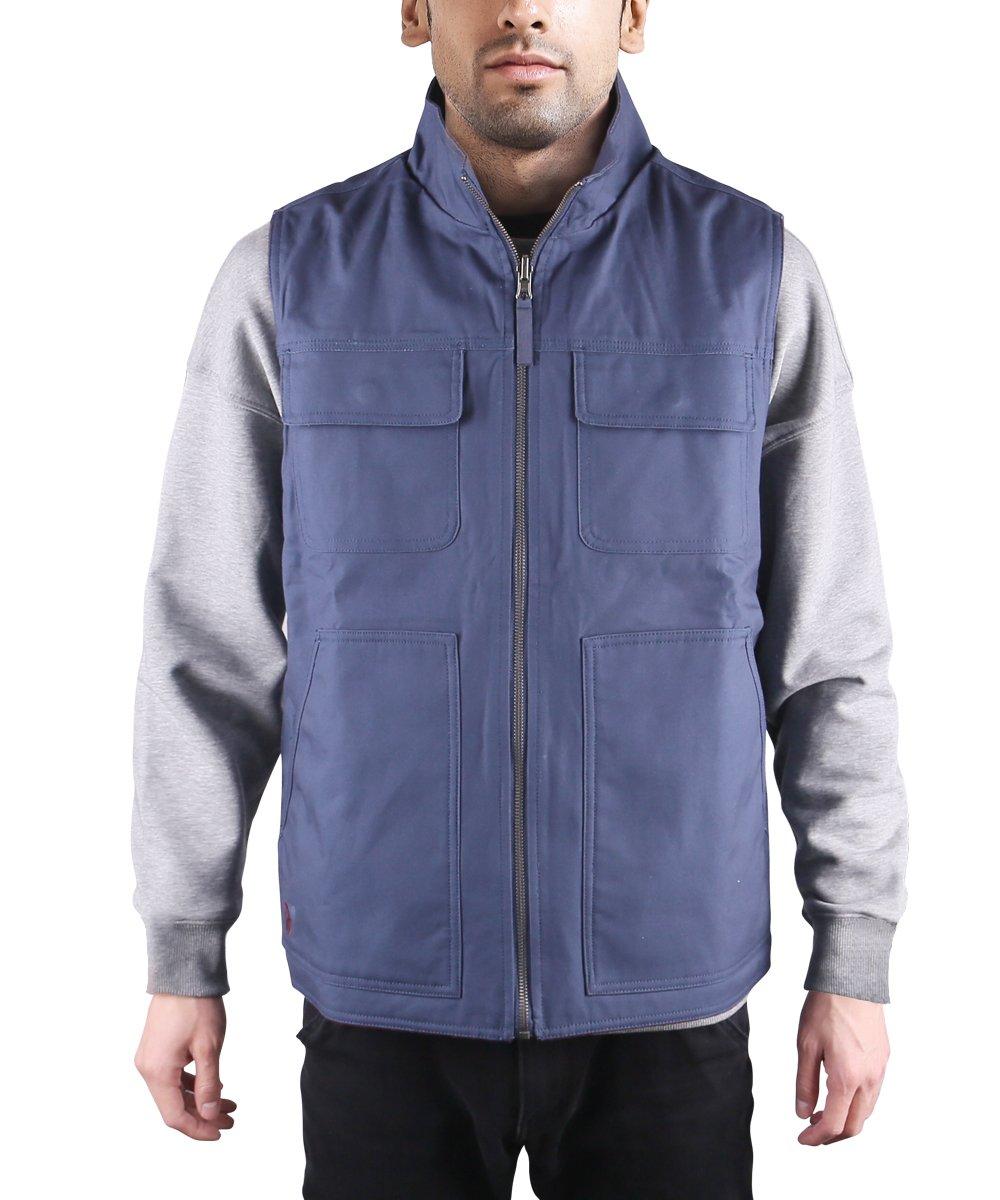 HARD LAND Men's Vests Outerwear Reversible Polar Fleece Vest Outdoor Winter Casual Work Vest Size L Navy