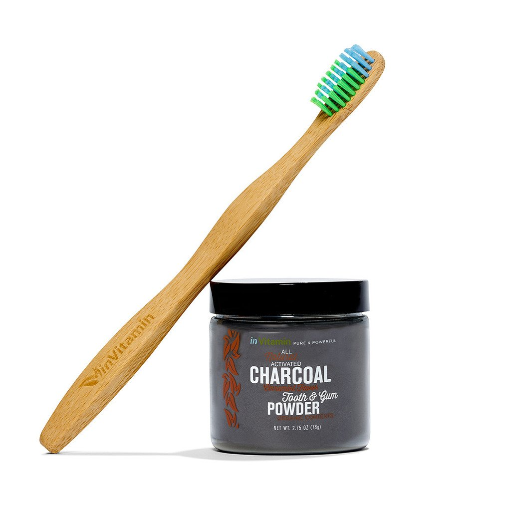 inVitamin Natural Whitening Tooth & Gum Powder with Activated Charcoal (Cinnamint) + WooBamboo Toothbrush