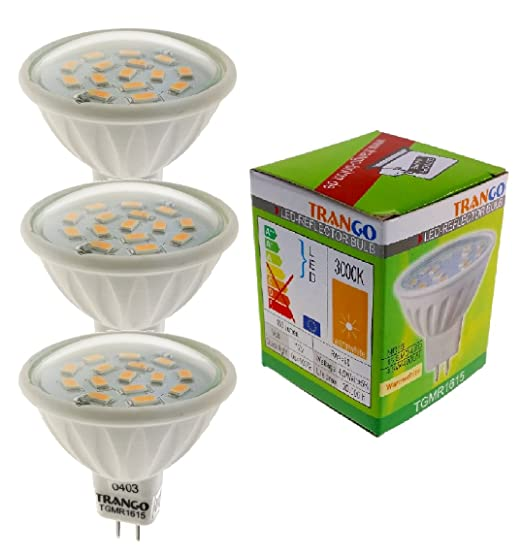 Lote de 3 bombillas Trango LED MR16 GU5.3 TGMR1615 regulables de 12V