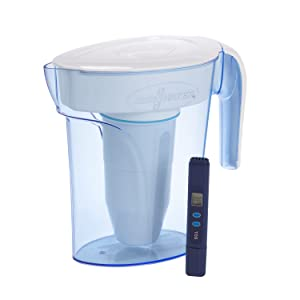 ZeroWater, ZP-006-4, 6 Cup Pitcher with Free Water Quality Meter, BPA-Free, NSF Certified to Reduce Lead and Other Heavy Metals, White and Blue