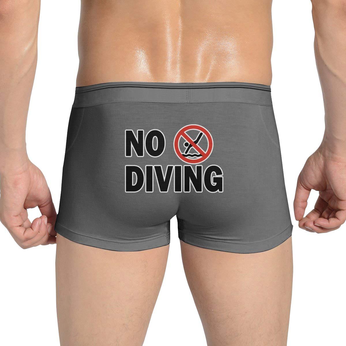 No Diving Sign Mens Stretch Underwear Cotton Boxer Briefs Bikini Underwear