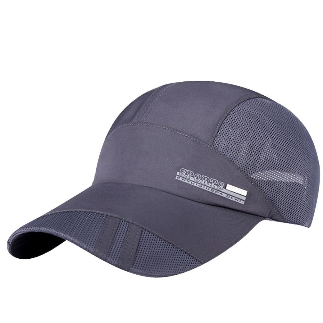 a53ee945 Summer Outdoor Sports Quick-Dry Collapsible Mesh Sun Hat Cotton Baseball Cap  Women Men (Gray) at Amazon Men's Clothing store: