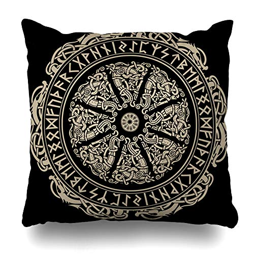 (Ahawoso Throw Pillow Cover Old Amulet Ancient Scandinavian Shield Viking Vintage Round Antique Barbarian Black Brave Celtic Decorative Cushion Case 20x20 Inches Square Home Decor Pillowcase)