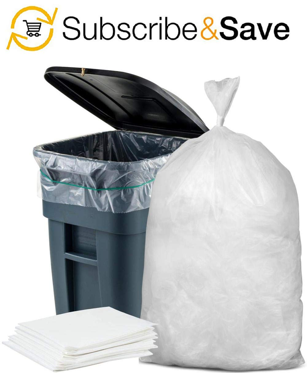 Thickness 22 Micron Star Sealed Bottom Kitchen. Tear Resistant Trash Liners for Offices HDPE 60 Gallon Garbage Can Liners 38x60 APQ Pack of 25 Clear Polyethylene Trash Bags 38 x 60 Schools