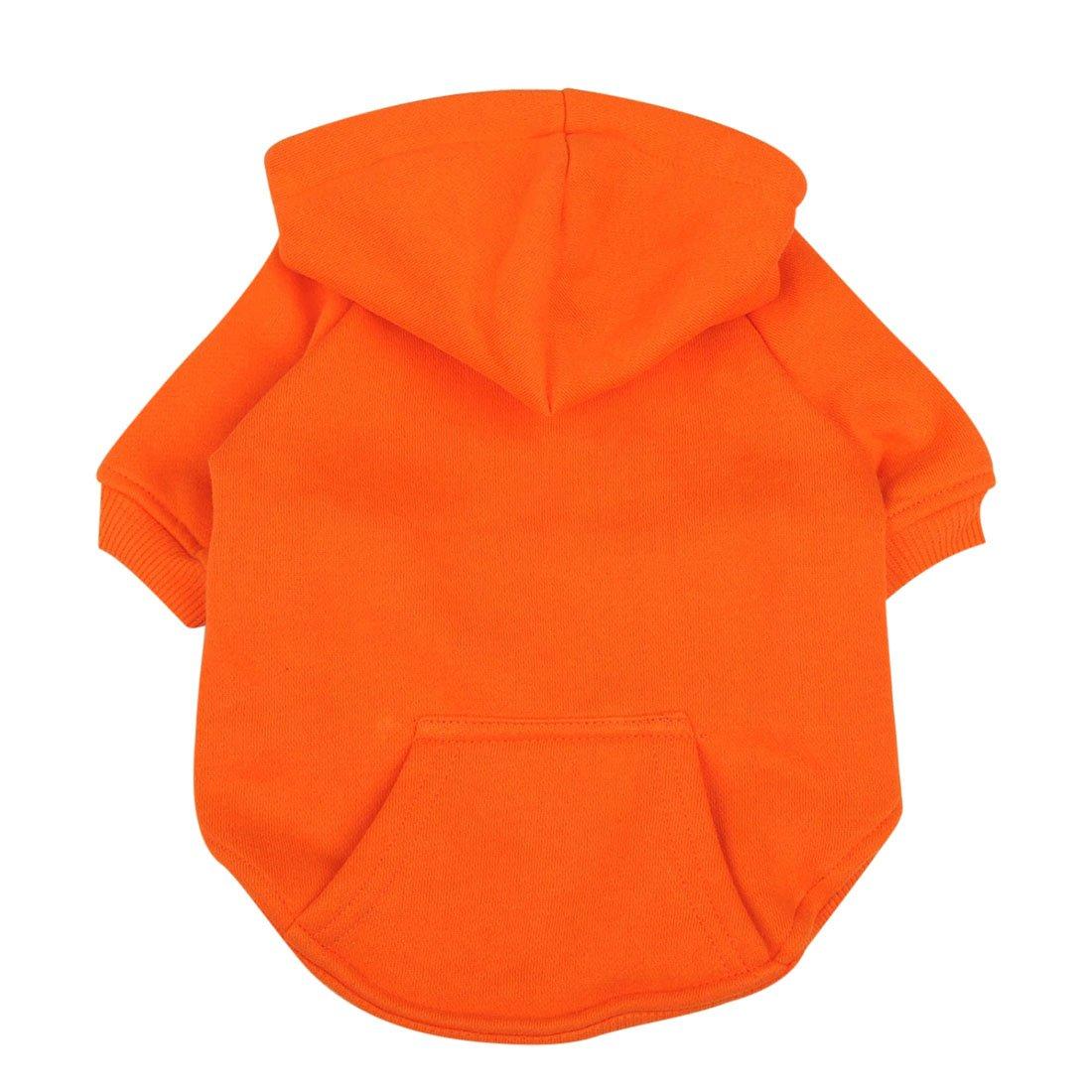 Idepet Chien Chat à Capuche Coton Manteaux pour Animaux Couleur Unie Vêtements pour Petit Chien Chiot Teddy Poodle Chihuahua (XS, Rouge)