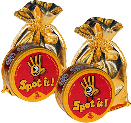 - Spot It! Matching Symbols Card Game _Bundle of 2 Identical Games _ Bonus 2 Gold Metallic Cloth Drawstring Pouches _ Bundled Items