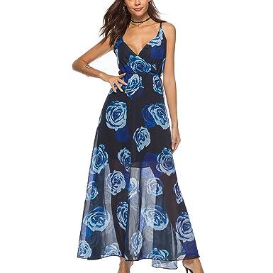 Damen Elegant Vintage Strandkleid Ishine V Ausschnitt Maxikleid Lang Sommerkleider Kleid Boho SzMqVpU