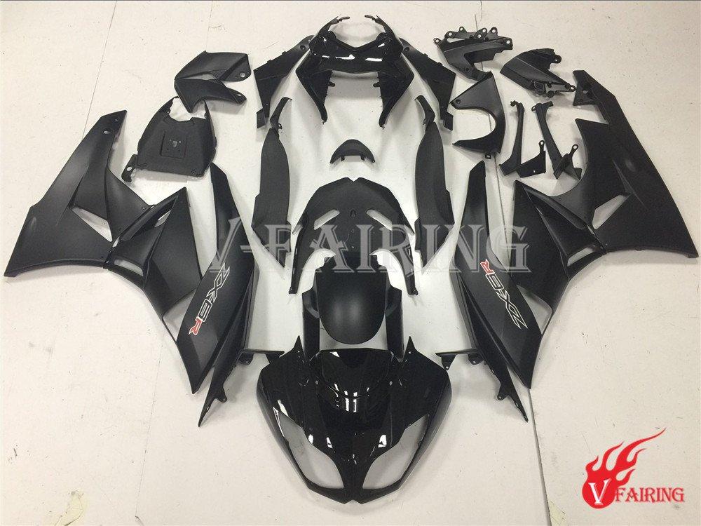 VIKZUU 対応車種 カワサキ Kawasaki ZX6R ZX-6R Ninja 636 2009 2010 2011 2012 09 10 11 12 用フェアリングキット 射出成形樹脂ボディワーク オートバイフェアリング カウルキット ABS(ブラック) a020   B07D2HSZLK