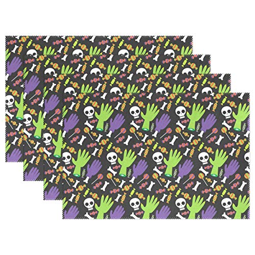 Halloween Skull Fingers Placemats for Kitchen Set of 6 Table Mat Home Plate Mat Heat Resistant Washable, 12x18 -