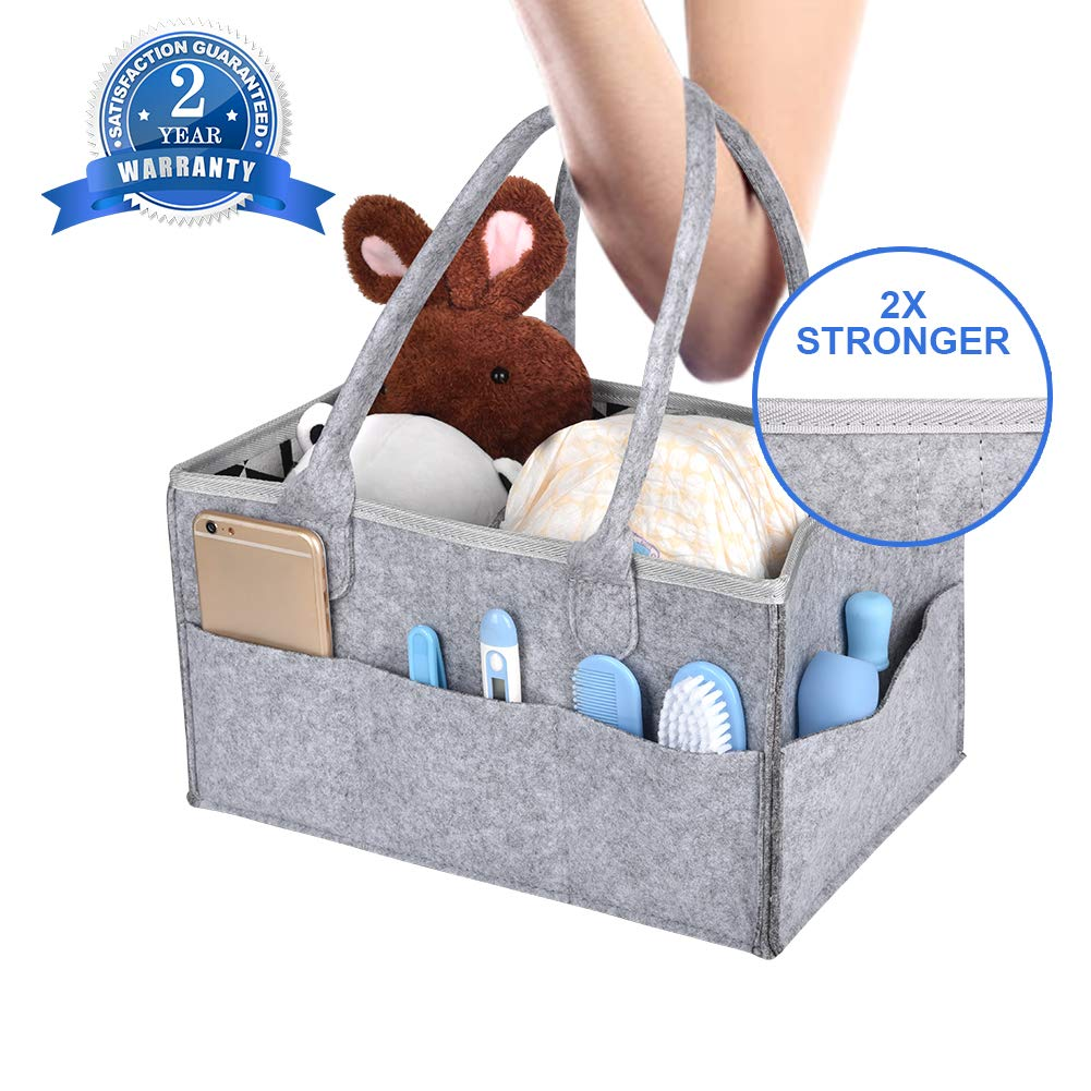 Baby Diaper Caddy, Nappy Storage Organiser Portable Nursery Felt Basket Bin Multifunction Changeable Compartments Outdoor Travel Box-Piping Thicken Design for Mom Newborn Baby Wipes, Shower, Gift Pockets LLNRC