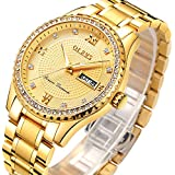 Gold Watches for Men Stainless Steel,Mens Day Date Watch,Mens Gold Watch with Calendar,Roman Numeral Business Casual Fashion Analog Quartz Wrist Watch,Luminous Watches Men,Classic Watch for Boys
