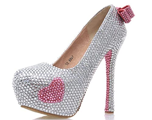 Kitzen Womens Bow Tie Crystal Rhinestones Pearl Bride Court Shoes Wedding  Party Evening Platforms High Heel 7cb8d0bd76