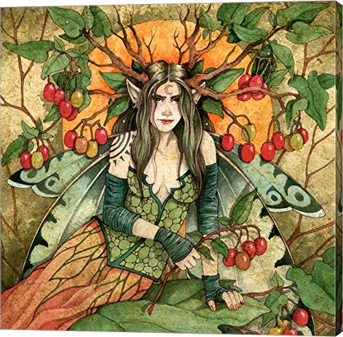 - Nightshade Fairy by Linda Ravenscroft Canvas Art Wall Picture, Gallery Wrap, 14 x 14 inches