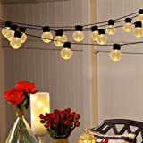 Solar Globe Bulb String Lights, 11.5ft 10 LED Clear Plastic Solar Powered Christmas Bulbs Lights, Outdoor Waterproof Village Decoration Lightings for Garden Patio Halloween Wedding Party(Warm White)