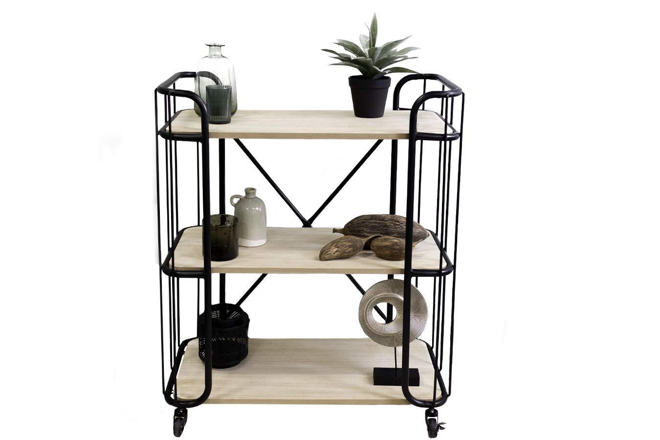 LIFA LIVING® Carro de cocina multifuncional   Carrito de cocina con ruedas bloqueables   Carro de metal con 3 estantes para ahorrar espacio   Carro de ...
