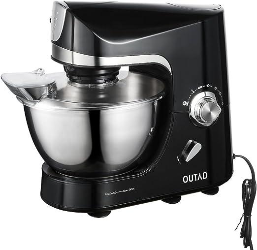 OUTAD - Robot de cocina, 1200 W, capacidad de 4,5L, 10 velocidades, 3 herramientas, color plateado y negro: Amazon.es: Hogar